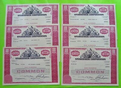 SIX (6) 1960's STUDEBAKER CORP. STOCK CERTIFICATES Red 100 Shares ORIGINAL Xlnt