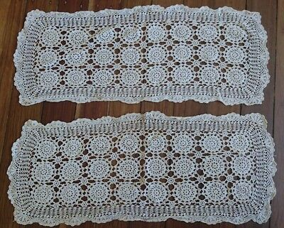 2 Lovely Rectangular Patterned Lace Doilies / Table Runners