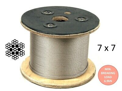 100m Stainless Steel Marine G316 Wire Cable Decking Rope 7 x 7 3.2mm