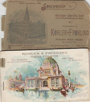 1893 6 Ad Cards Kohler & Frohling Wines Chicago Worlds Fair Columbian Exposition