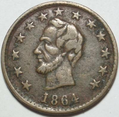 ELECTION of 1864 Rare ABRAHAM LINCOLN and O.K. CAMPAIGN MEDAL & Civil War Token