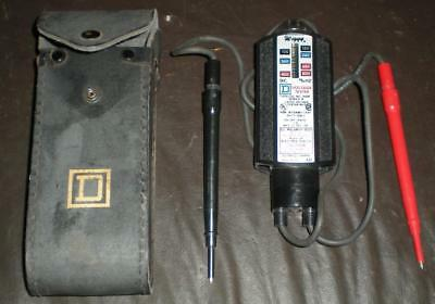 Square D Wiggy 120-240-480-600 volts Voltage Tester with Case