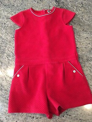 Janie And Jack Girls Red Romper Size 8 Poppy Park 2017