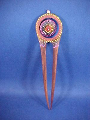 Nice Vintage Hand Painted Wooden Hair Comb Hair Ornament