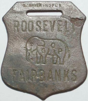 1904 PRESIDENTIAL Election ROOSEVELT & Fairbanks >GOP ELEPHANT< Key or WATCH FOB
