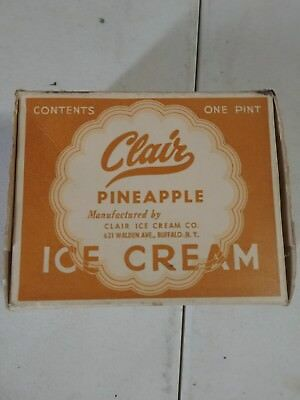 Vintage Clair Pineapple Ice Cream Carton 1 pint