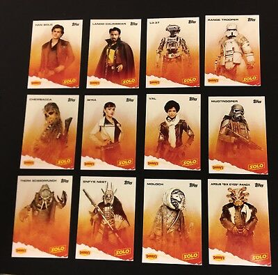 Denny's Star Wars Han Solo Trading Card Set (12) Mint Topps Complete Puzzles