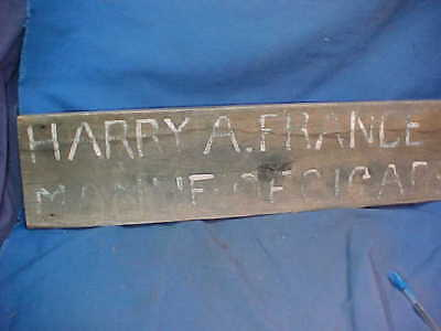 Late 19thc HARRY FRANCE CIGAR Manufacturer CARVED WOOD SIGN Oneida NY