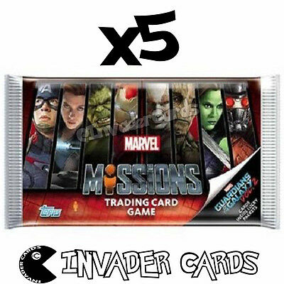 5x Topps Marvel Hero Attax Missions Trading Card Game Booster Pack New Sealed