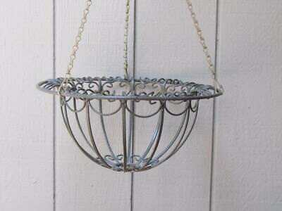 Vintage Wrought Iron Hanging Basket Plant Holder French Style Very Nice