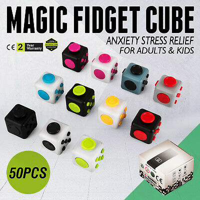 50PCS Magic Fidget Cube Anxiety Stress Relief Gift Adult Kid Local Focus Hot