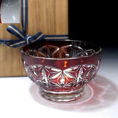 TQ2: Vintage Japanese Beautiful Glass Tea bowl, Cut glass, KIRIKO