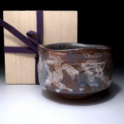 UH6: Vintage Japanese Pottery Tea bowl, Shino ware with Sealed wooden box