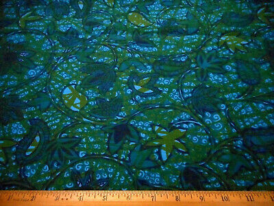 Vintage Batik Fabric 1 Yard Floral Malay Hand Printed Turq Green Blue