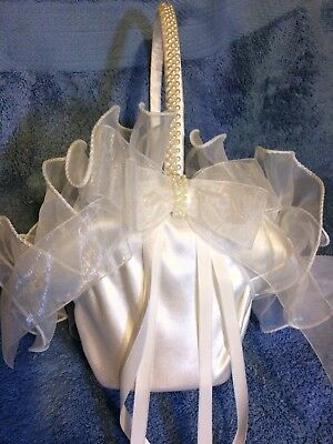 Flowergirl Basket White Satin And Lace Ruffles W Faux Pearl Trim