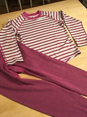 Patagonia kids thermals size 10-12 girls purple and striped shirt and pants