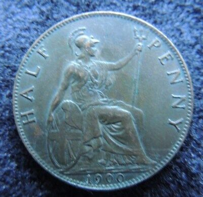 GREAT  BRITIAN      1900      1/2  Penny         AU       KM-789     AWESOME