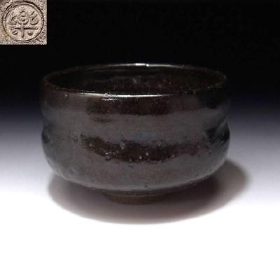 TG8: Vintage Japanese  Pottery Tea Bowl of Raku ware, Black RAKU, Kuro Raku