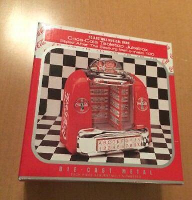 Coca-Cola Tabletop Jukebox Collectible Musical Bank Die Cast Metal from 1996