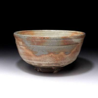 LN9: Vintage Japanese tea bowl, Agano ware by 1st class potter, Junichi Kozuru