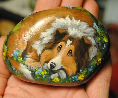 Hand Painted~Rock~Shetland Sheepdog~~Dog~Original Painting~SToNE~Whimsical~Art
