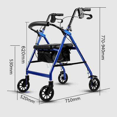 Foldable Rollator Walking Frame Out/Indoor Mobility Walker Aids Stainless Steel