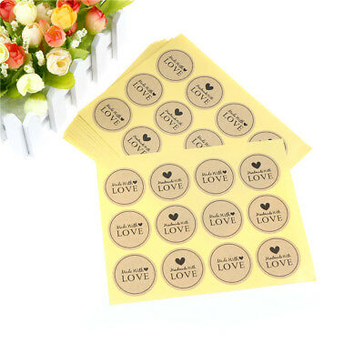 120PCS Hand Made with Love Paper Labels Sticker Seal Stickers for Gift`PackNTPD