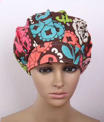 Women's Flowers Printing Scrub Cap Bouffant Medical Surgical Surgery Hat