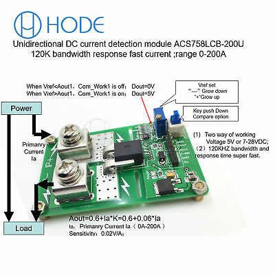 Unidirectional ACS758ECB-200U DC detection over current protection TOPUK