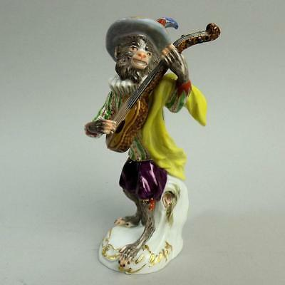 Antique Meissen Porcelain Guitarist Monkey Band Figure 60017