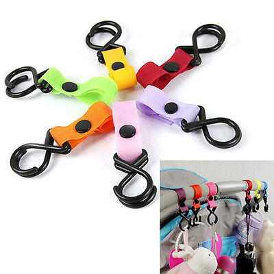 1/ 5x Pushchair Pram Buggy Stroller Shopping Bag Baby Handle Clip Strap Hook Pip