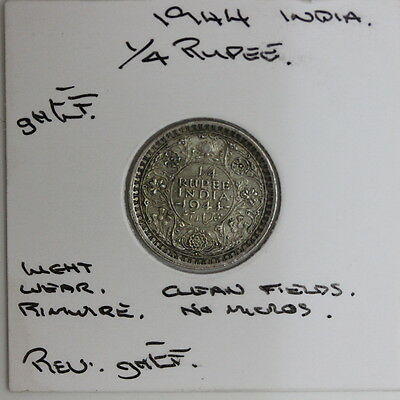 British India Silver Quarter 1/4 Rupee 1944  (JF69)