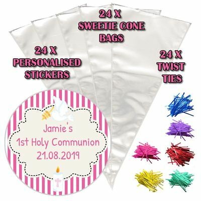 24 Personalised Stripes Pink Communion Do It Yourself Sweet Cone Party Bags