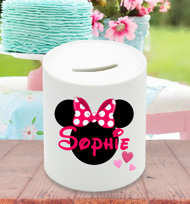 Personalised Minnie Mouse Ceramic Money Box Hearts Birthday Christmas Gift