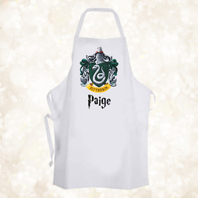 Personalised Hogwarts Slytherin House Chef Baking Cooking Apron Unique Gift