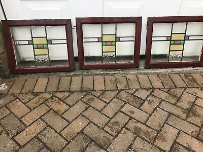Set of 5 1930s stained glass panels in wooden frames