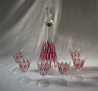 Lovely Vintage C1960's Port / Sherry Decanter Set With 6 Orig. Matching Glasses
