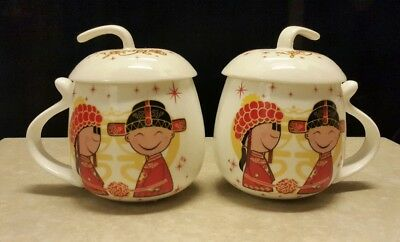Porcelain Chinese Tea Coffee Mug Cup With Lid Asian Couple Motif Red & White