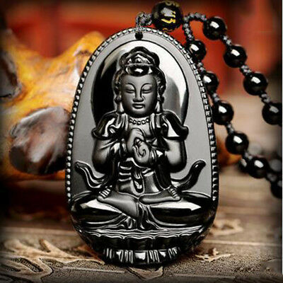 Unisex Natural Black Obsidian Buddha Lucky Amulet Pendant Hand Carved Necklace