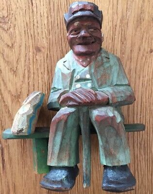 "Vintage Anri Carved Figure ""Old Man Sitting On Bench"" Stunning Detail."
