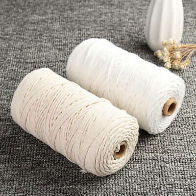 3mm*200m Beige Cotton Twisted Cord Rope Crafts Macrame Artisan String Durable