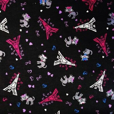 100% Cotton Wincyette Flannel Fabric Nutex Cats & Kittens In Paris