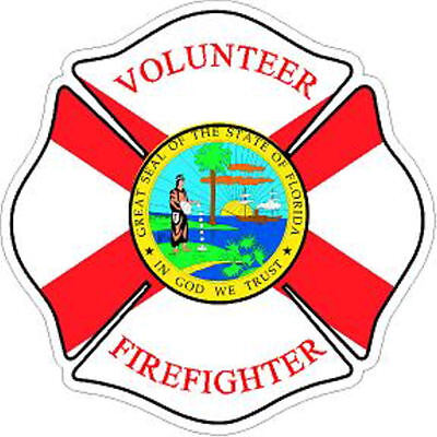 4 Inch Reflective Florida Volunteer Firefighter Maltese Cross Sticker Decal