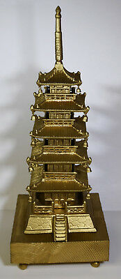 "20"" Cast Iron Japanese Pagoda Gilt Ornate Home Decor Wooden Base Stand"