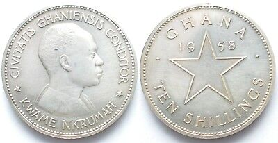 GHANA 10 Shillings 1958 Independence KWAME NKRUMAH silver Proof # 99882