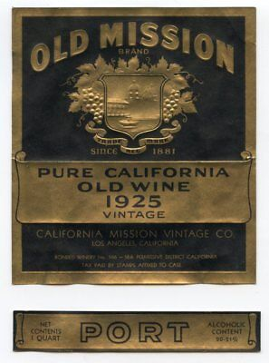 "Pair of Embossed Prohibition Era ""OLD MISSION"" Port Wine Labels CALIFORNIA 1925"