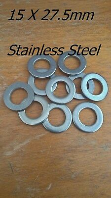 Washers Plain Stainless Steel A2 15mm ID x 27.5mm OD (Pack of  10 or 20 )