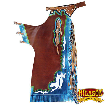 Ch900 Hilason Bull Riding Genuine Leather Rodeo Western Chaps Brown