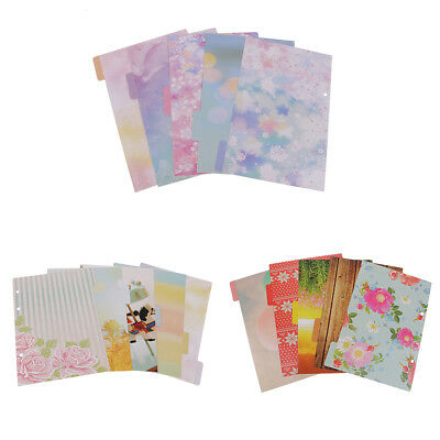 5 x Refillable 6-Ring Tabbed Index Cards Paper Different Style for A5 Papers