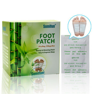 50 PCS Detox Foot Pads Patch Detoxify Toxins Fit Health Care Detox Pad TIUK